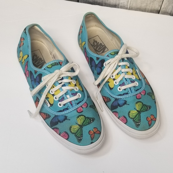 most reliable buy coupon codes Sky Blue Butterfly Print Lace-Up Vans Sneakers